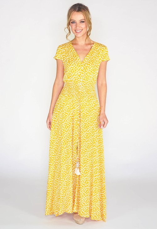 Pamela Scott Yellow printed maxi dress