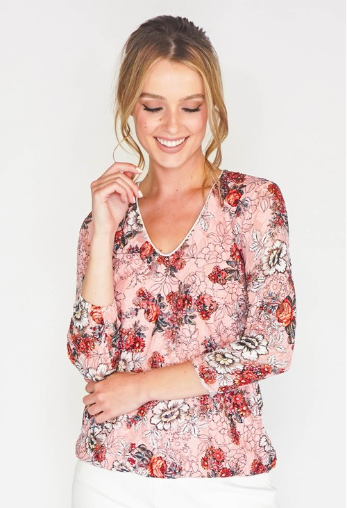 Zapara FLORAL PRINT LACE DESIGN TOP