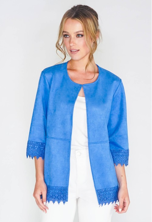 Zapara FAUX SUEDE OPEN FRONT JACKET WITH CROCHET TRIM DETAIL