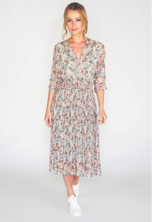 Pamela Scott FLORAL PLEATED DRESS