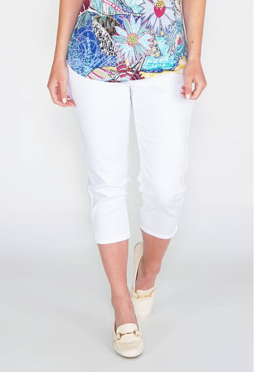 Twist SUDDENLY SLIMMER PULL ON CAPRI JEGGING - WHITE