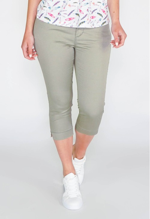 Twist SHAPE & LIFT SUMMER 5 POCKET CAPRI PANTS - KHAKI