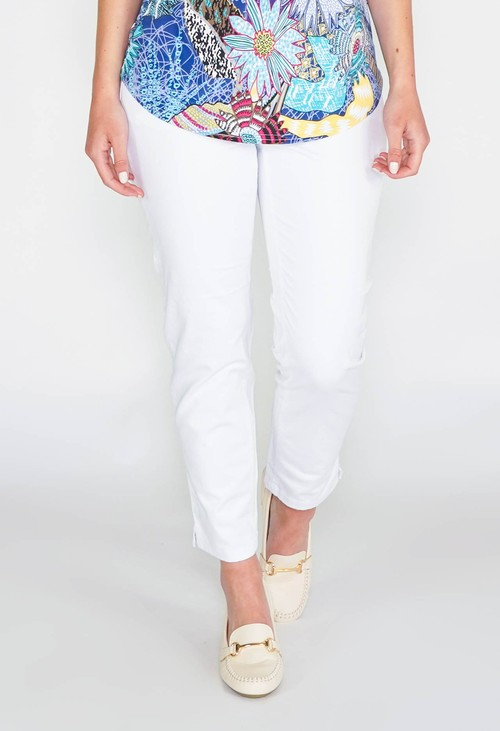 Sophie B GLAM COTTON SATEEN 7/8 PANT - WHITE