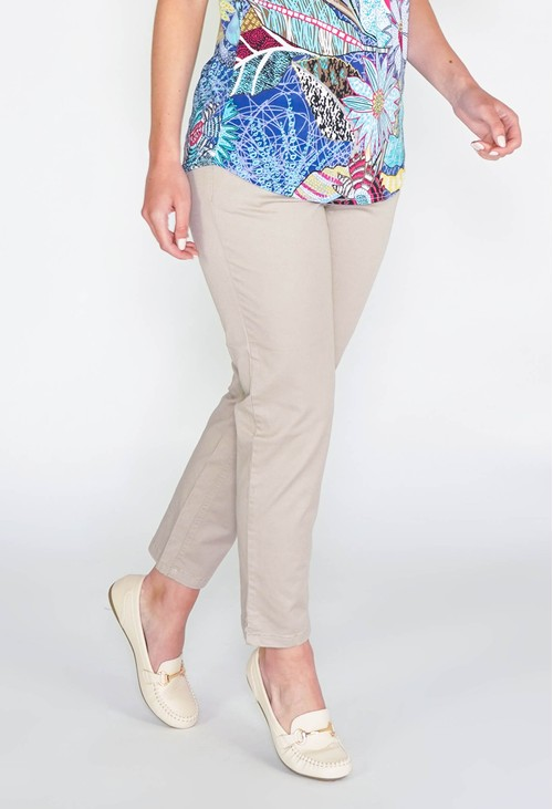 Sophie B GLAM COTTON SATEEN 7/8 PANT - SAND