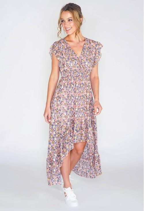Pamela Scott Floral high low dress with foil detail in pink