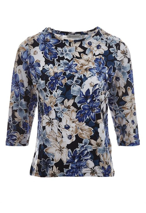 Bicalla Dark floral 3/4 Sleeve Top