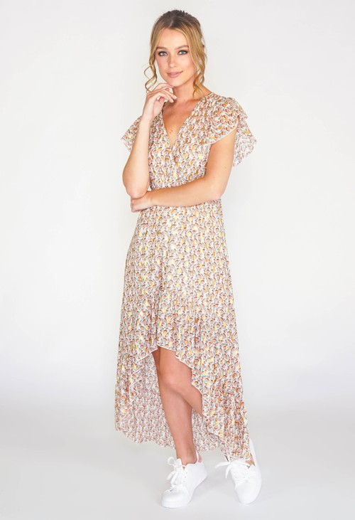 Pamela Scott Leaf printed high low dress with foil detail in beige