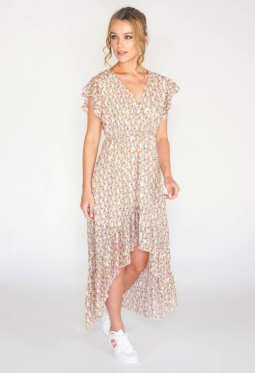 Pamela Scott Leaf printed high low dress with foil detail in beige