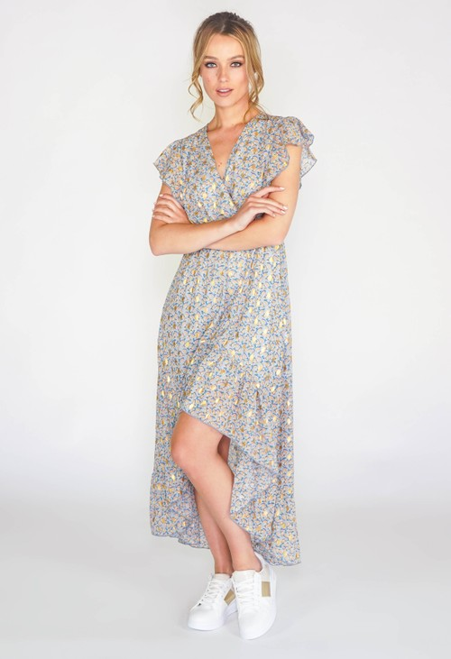 Pamela Scott Printed high low dress with foil detail in blue