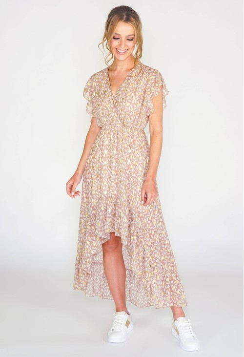 Pamela Scott Printed high low dress with foil detail in off white