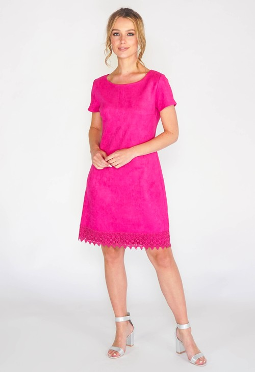 Zapara FAUX SUEDENE SOFT A LINE DRESS WITH CROCHET APPLIQUE