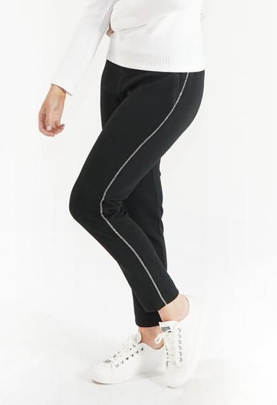 Zapara Black Straight Leg Trouser with Side Stripe