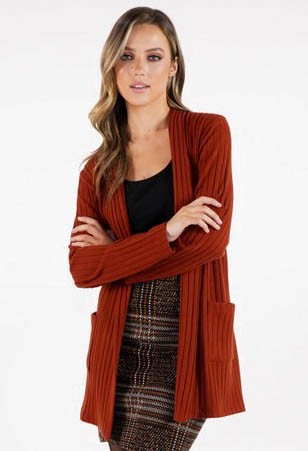 Sophie B Rust Ribbed Cardigan with Pockets