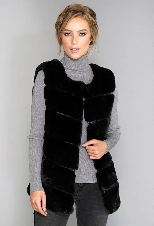 Pamela Scott Faux Fur Gilet Black