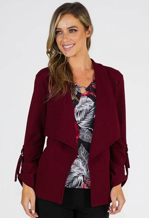 Sophie B Burgundy Open Jacket
