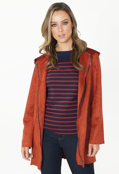 Zapara Rust Faux Suede Hooded Jacket