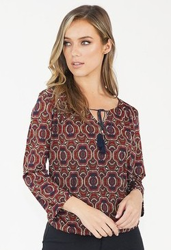 Sophie B Bordeaux/Navy Design Top