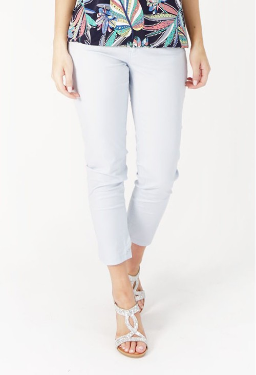 YOU YOU Powder Blue Zip Detail Jeans