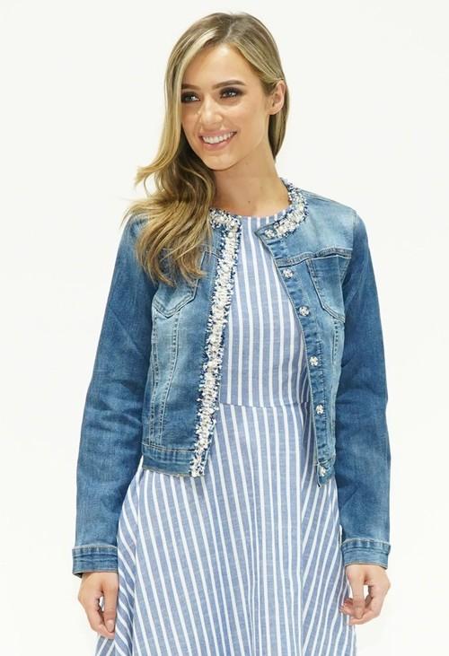 Pamela Scott Collarless Denim Jacket with Sparkly Trim Detail