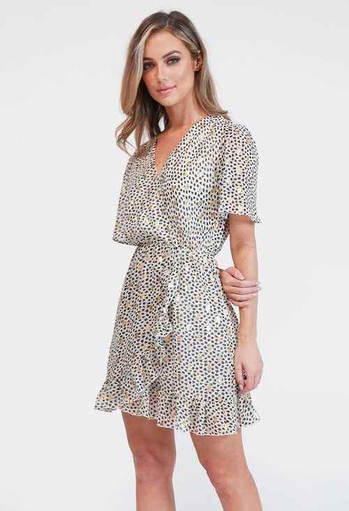 Pamela Scott Off White Printed Faux Wrap Dress