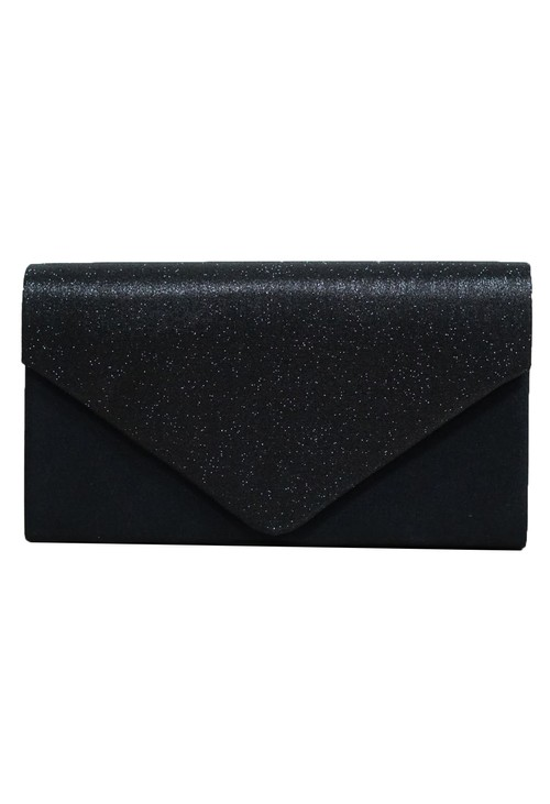 PS Accessories Black Sparkle and Satin Envelope Clutch