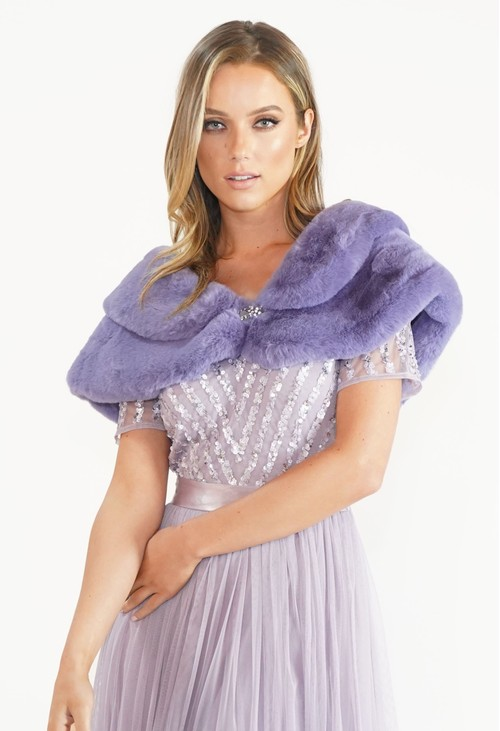 Pamela Scott Lavender Faux Fur Wrap