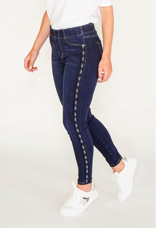 Liverpool Chloe Skinny jeans in dark denim with side trim