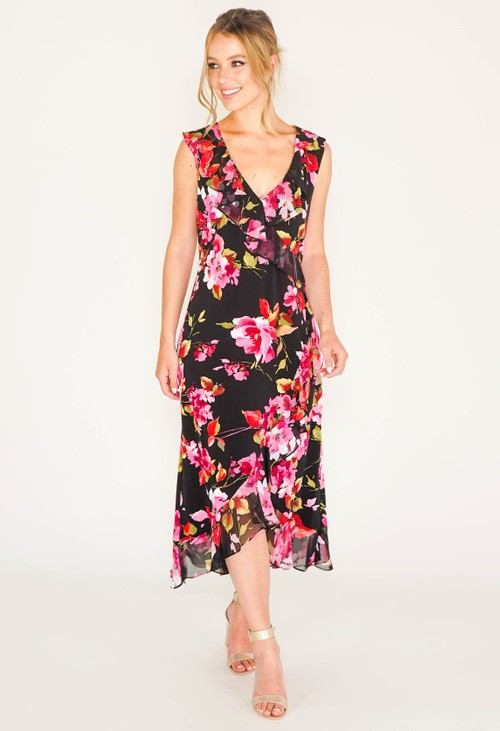 Connected FRILL FRONT DRESS WITH FLORAL PRINT IN BLACK, RED AND PINK