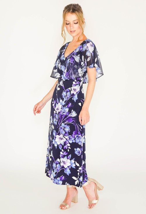 Connected CAPELET FLORAL PRINT DRESS IN NAVY