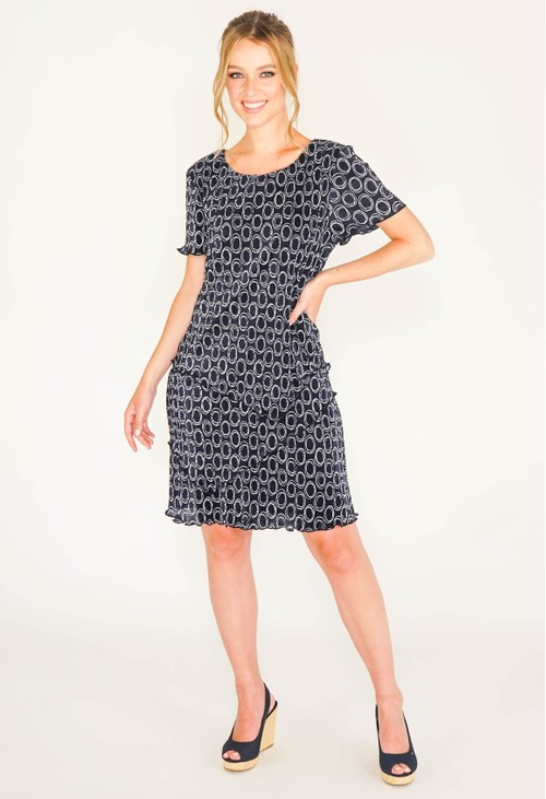 Connected NAVY PRINT CIRCLE DRESS WITH ASYMMETRICAL PANELS