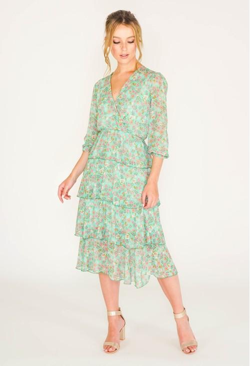 Pamela Scott green floral printed tiered dress