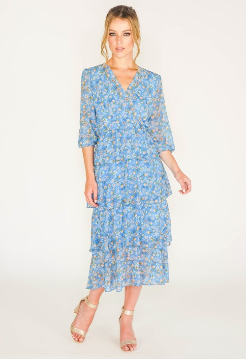 Pamela Scott blue floral printed tiered dress