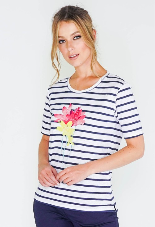 Brax striped t-shirt with flower detail front