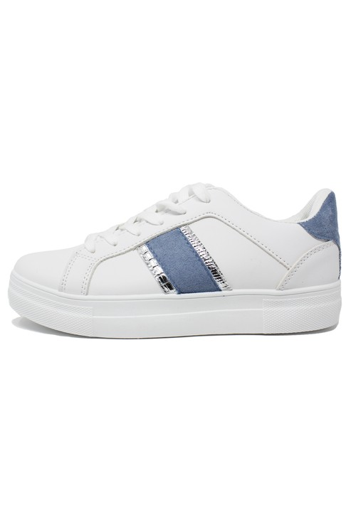 Pamela Scott BLUE DETAIL WHITE TRAINER