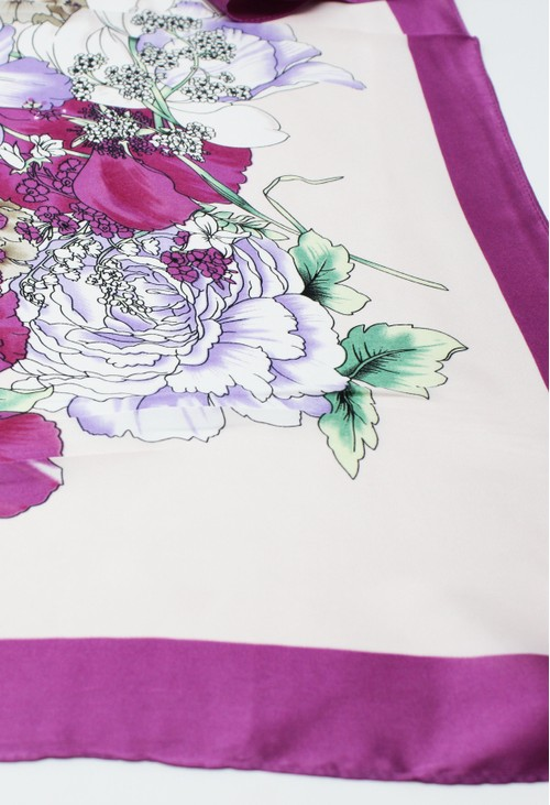 Pamela Scott Purple Floral Scarf
