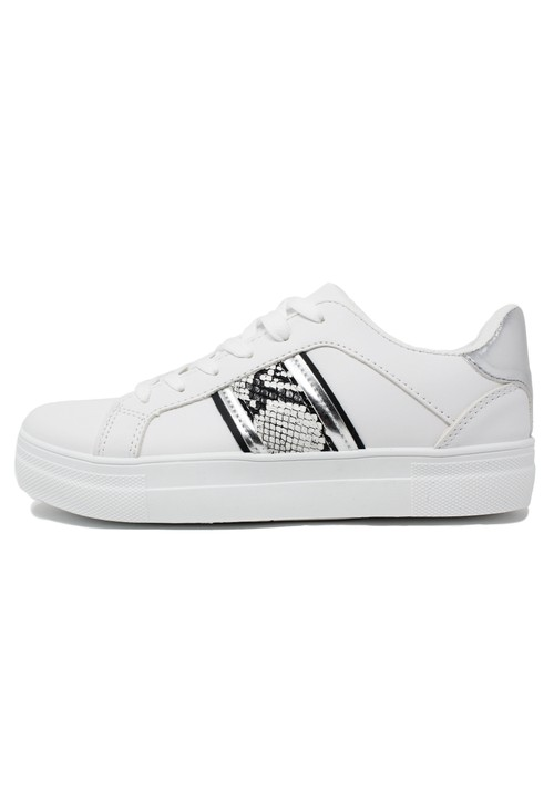Pamela Scott SNAKE DETAIL WHITE TRAINER