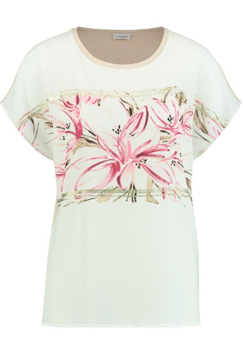 Gerry Weber Top With Floral Panel And Shimmer Detail