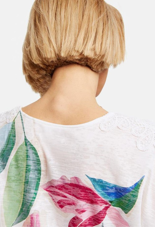 Gerry Weber T-SHIRT WITH LACE AND FLORAL PRINT