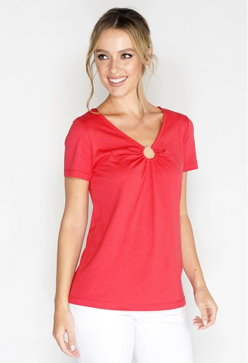 Sophie B V Neck Top with Ring detail