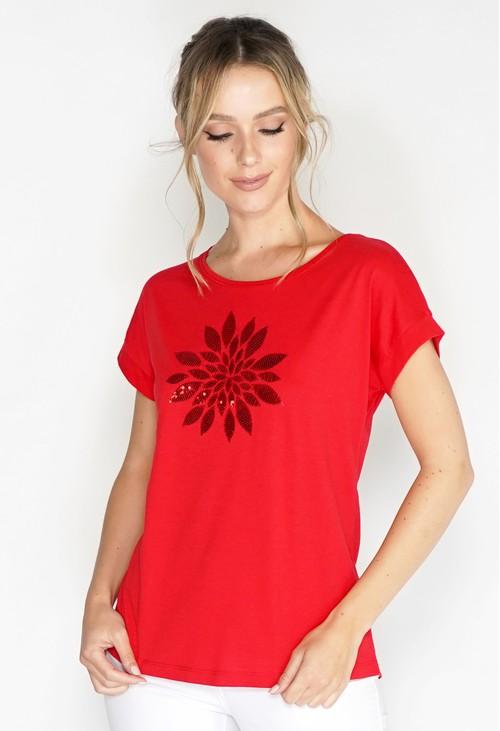 Twist Mosaic Flower Sequin Detail T-shirt