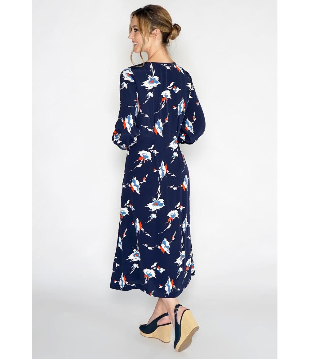 Pomodoro Vintage Style Navy Floral Tea Dress