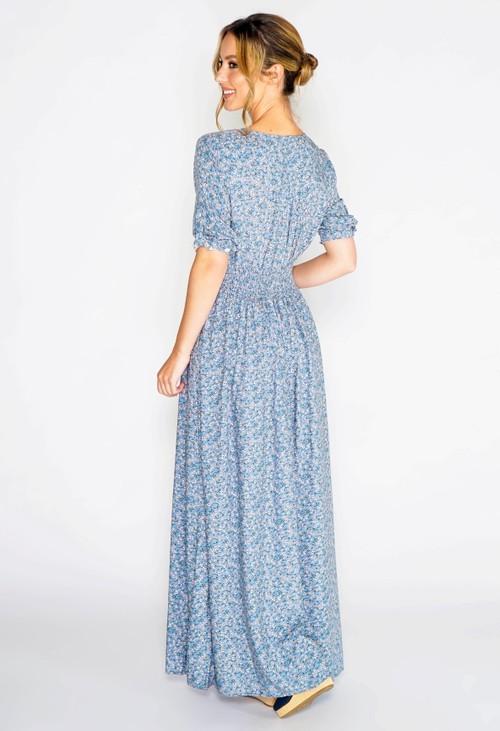 Pamela Scott FLORAL PRINTED MAXI DRESS