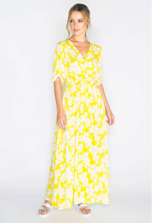 Pamela Scott TROPICAL FLORAL PRINTED MAXI DRESS