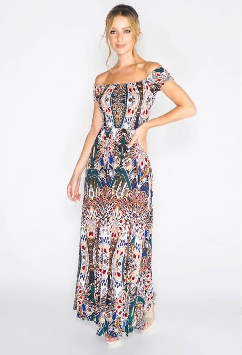 Pamela Scott Peacock Print Maxi Dress