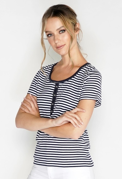 Pamela Femme Mini Stripe Soft Round Neck Top