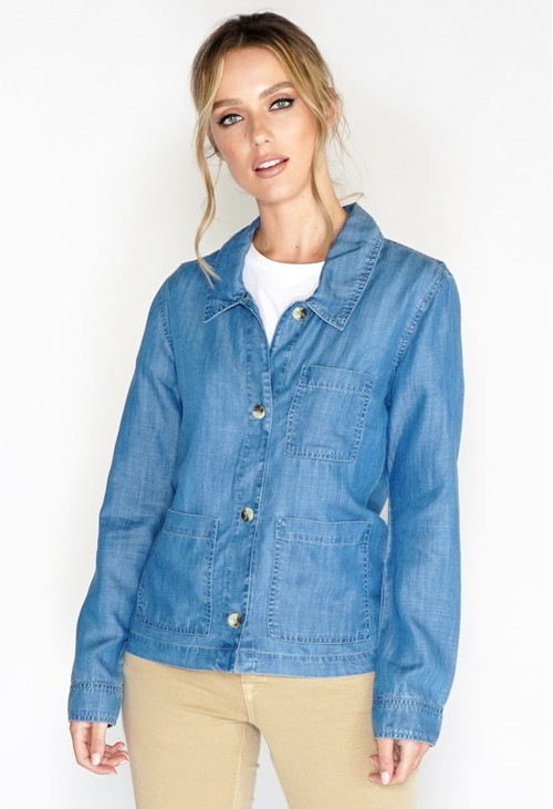Pomodoro Loose Chambray Tencel Jacket