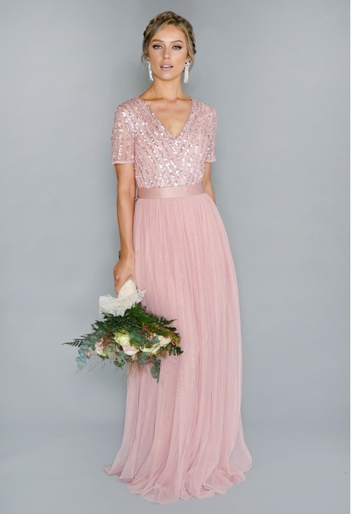Maya Silver Pink V Neck Sequin and Tulle Dress with Tie Waist