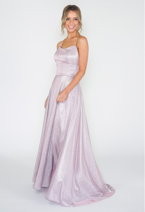 Betsy and Adam Pink Shimmer Ball Gown
