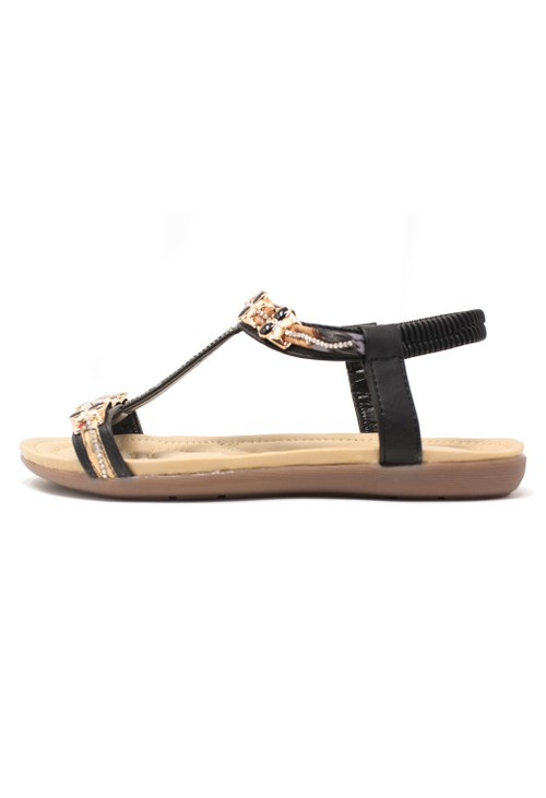 Shoe Lounge Black Lightweight T Strap Flat Sandal,