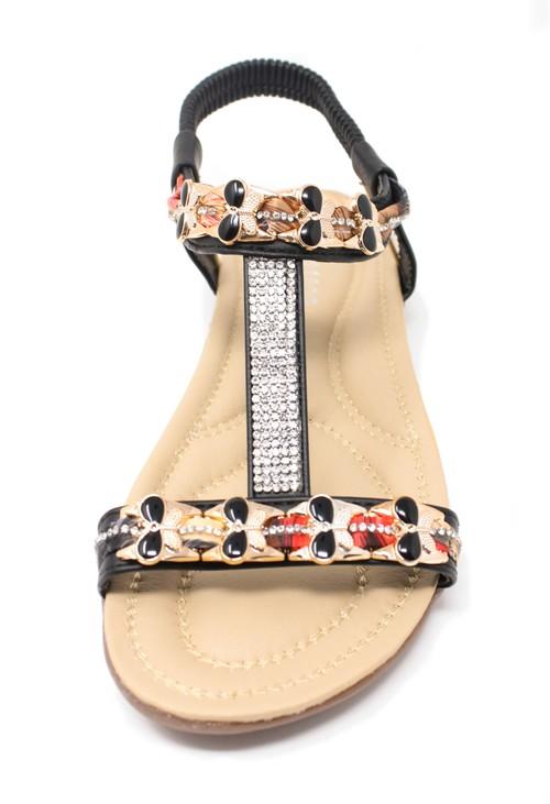 Shoe Lounge Black Lightweight T Strap Flat Sandal,